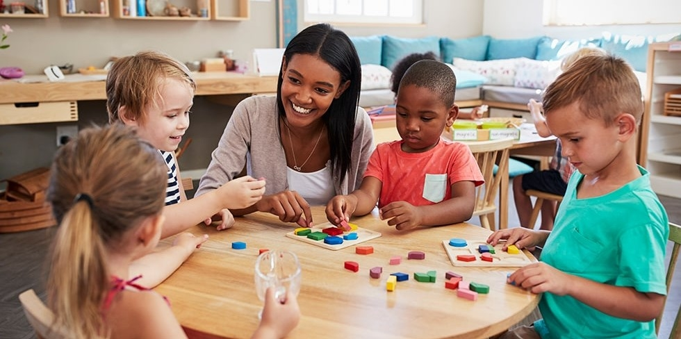 toddlers in montessori classroom
